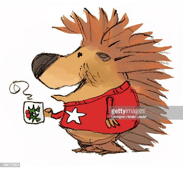 Chris Ware color illustration of a merry cartoon porcupine wearing his Christmas sweater and drinking his morning cup of joe in his holiday mug