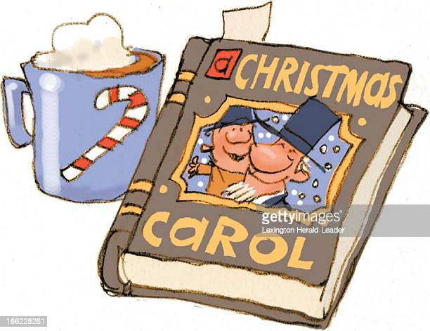 Chris Ware color illustration of Christmas mug with hot chocolate next to copy of Charles Dickens 'A Christmas Carol' with Tiny Tim and Bob Cratchit...