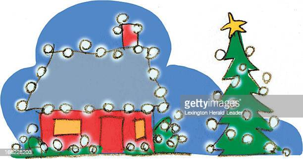 Chris Ware color illustration of house decorated with Christmas lights and lighted tree outside For counting down the days til Christmas Day 20