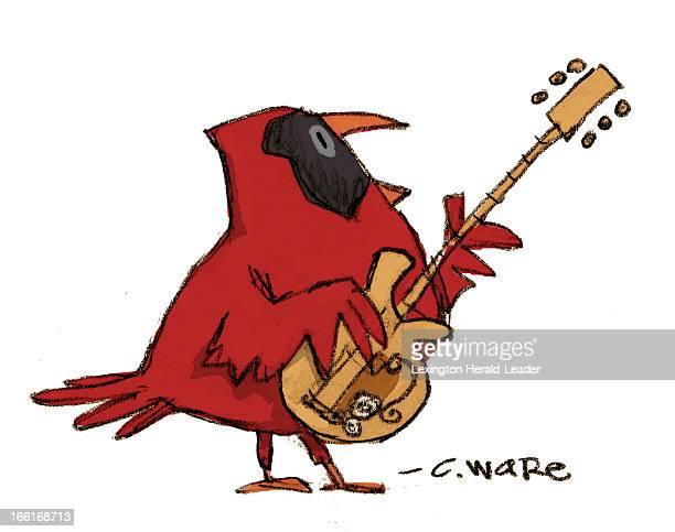 Chris Ware illustration of cardinal playing guitar