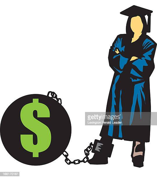 Chris Ware illustration of college graduate standing next to ballandchain labeled with a US dollar sign can be used with stories about student debt