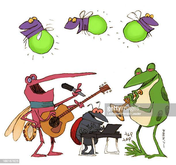 Chris Ware illustration of insects playing musical instruments can be used with stories about summer music concerts