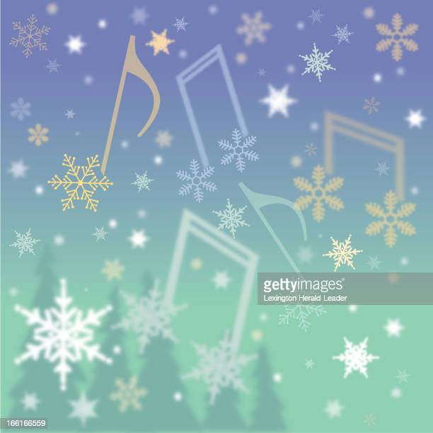 Chris Ware illustration of snowflakes amid musical notes