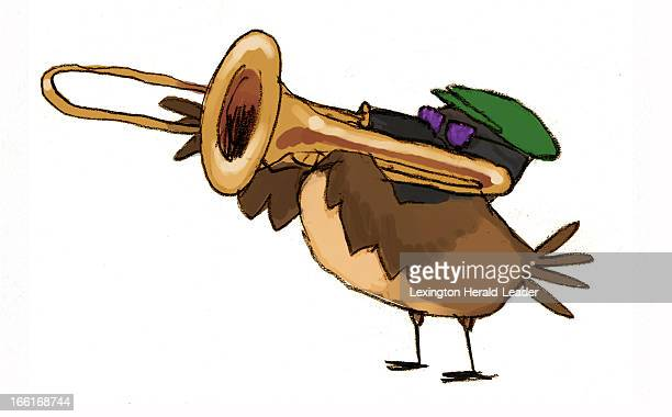 Chris Ware illustration of sparrow playing trombone
