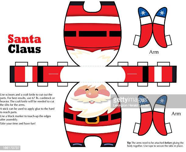 Chris Ware papercraft illustration of Santa Claus published illustration can be cut folded to form Santa Claus figure