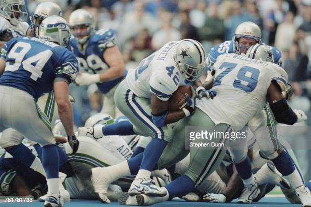 Chris Warren Running Back for the Dallas Cowboys runs the ball during the National Football Conference East game against the Seattle Seahawks on 22...