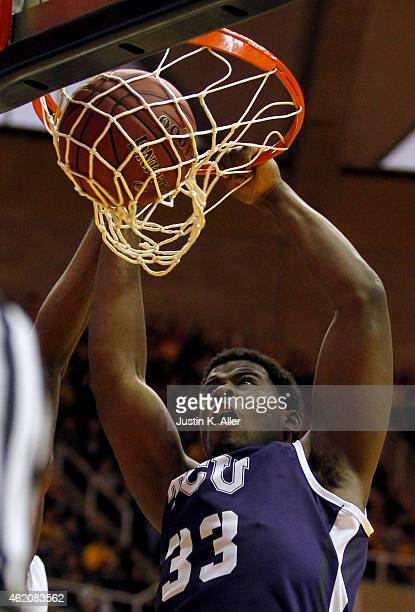 Chris Washburn of the TCU Horned Frogs dunks the ball in the first half against the West Virginia Mountaineers during the game at the WVU Coliseum on...