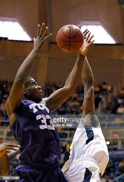 Chris Washburn of the TCU Horned Frogs pulls down a rebound during the game against the West Virginia Mountaineers at the WVU Coliseum on February 13...