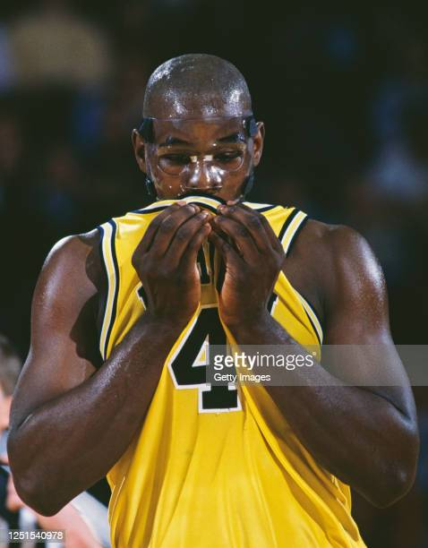 Chris Webber, Forward for the University of Michigan Wolverines wearing a face protecting mask during the NCAA Big-10 Conference college basketball...