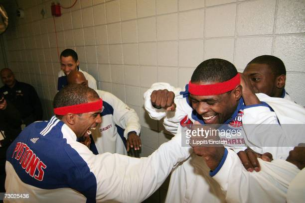 Chris Webber of the Detroit Pistons gets the ritual pre game hazing before a game against the Utah Jazz on January 17 2007 at the Palace of Auburn...