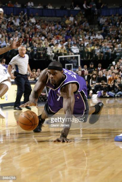 Chris Webber of the Sacramento Kings dives for the ball against the Dallas Mavericks in Game three of the Western Conference Quarterfinals during the...