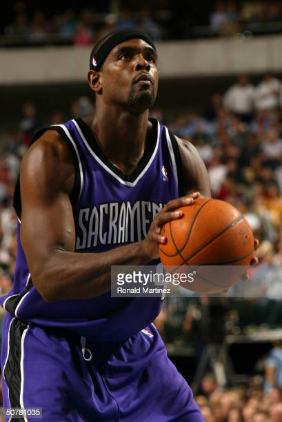 Chris Webber of the Sacramento Kings shoots a free throw during Game three of the Western Conference Quarterfinals of the 2004 NBA Playoffs against...