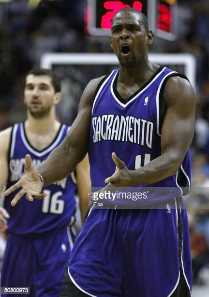 Chris Webber of the Sacramento reacts to a call fouled against him against the Minnesota Timberwolves in Game one of the NBA Western Conference...