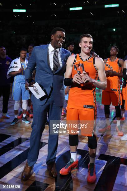 Chris Webber presents the MPV trophy to Bogdan Bogdanovic of the World Team after the game against the USA Team during the Mountain Dew Kickstart...