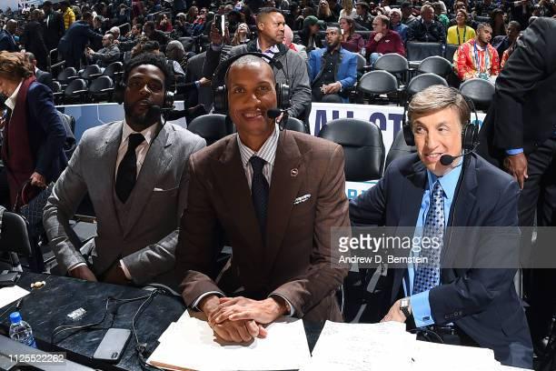Chris Webber Reggie Miller and Marv Albert provide commentary during the 2019 NBA AllStar Game on February 17 2019 at the Spectrum Center in...