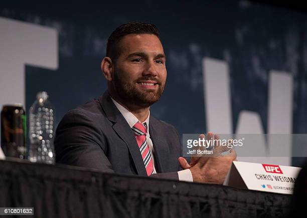 Chris Weidman interacts with the media and fans during the UFC 205 press event at Madison Square Garden on September 27 2016 in New York City