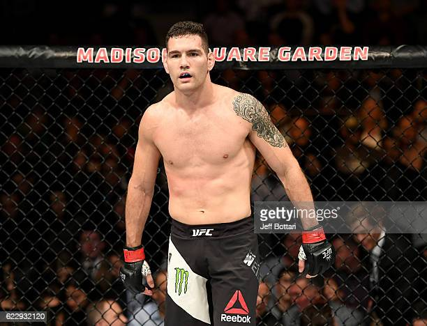 Chris Weidman of the United States looks on against Yoel Romero of Cuba in their middleweight bout during the UFC 205 event at Madison Square Garden...