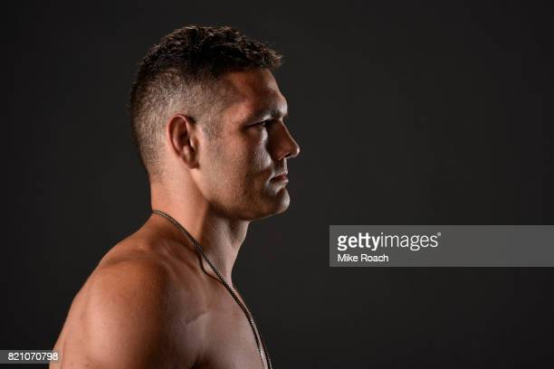 Chris Weidman poses for a post fight portrait backstage during the UFC Fight Night event inside the Nassau Veterans Memorial Coliseum on July 22 2017...