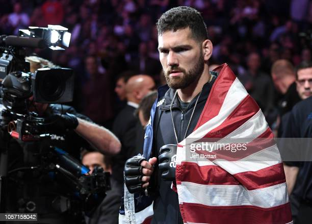 Chris Weidman prepares to fight Ronaldo Souza of Brazil in their middleweight bout during the UFC 230 event inside Madison Square Garden on November...