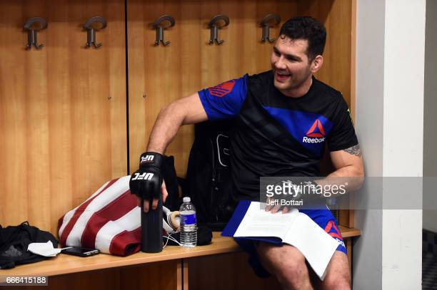 Chris Weidman smiles backstage during the UFC 210 event at the KeyBank Center on April 8 2017 in Buffalo New York