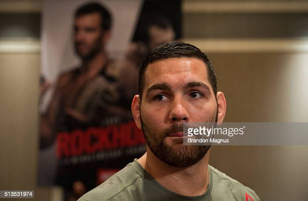 Chris Weidman speaks to the media during the UFC 196 Ultimate Media Day in the MGM Grand Hotel/Casino on March 3, 2016 in Las Vegas, Nevada.