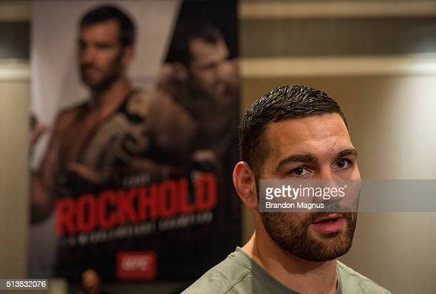 Chris Weidman speaks to the media during the UFC 196 Ultimate Media Day in the MGM Grand Hotel/Casino on March 3 2016 in Las Vegas Nevada