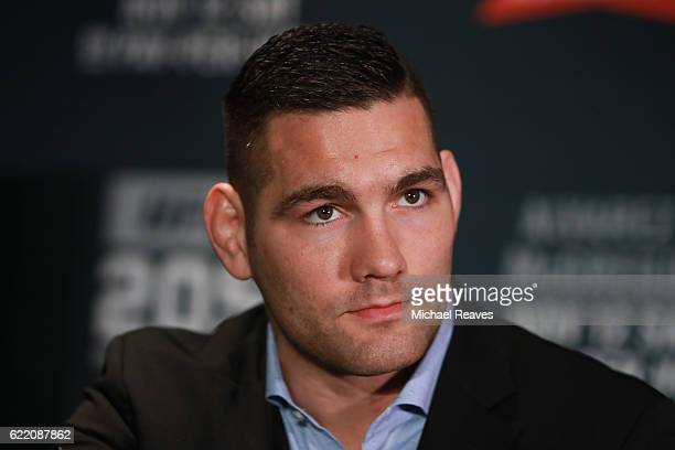 Chris Weidman speaks to the media during the UFC 205 Ultimate Media Day at The Theater at Madison Square Garden on November 9 2016 in New York City