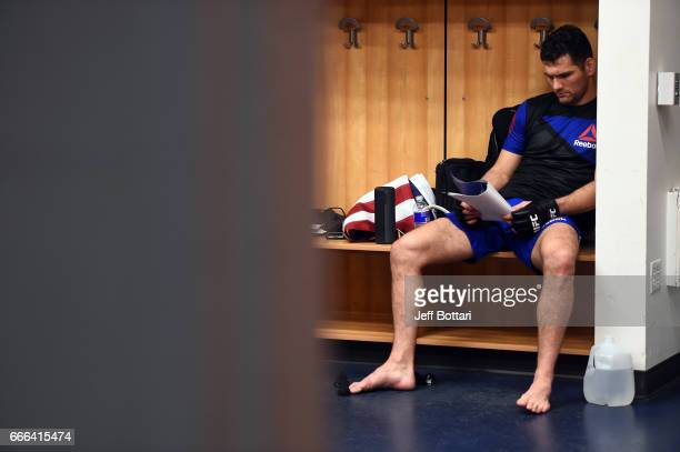 Chris Weidman waits backstage during the UFC 210 event at the KeyBank Center on April 8 2017 in Buffalo New York