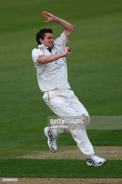 Chris Whelan of Worcester bowls during day two of the LV County Championship Division One match between Hampshire and Worcestershire at the Rose Bowl...