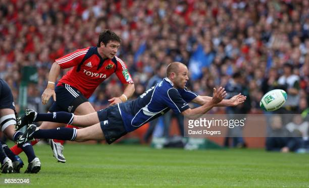 Chris Whitaker of Leinster passes the ball during the Heineken Cup semi final match between Munster and Leinster at Croke Park on May 2 2009 in...