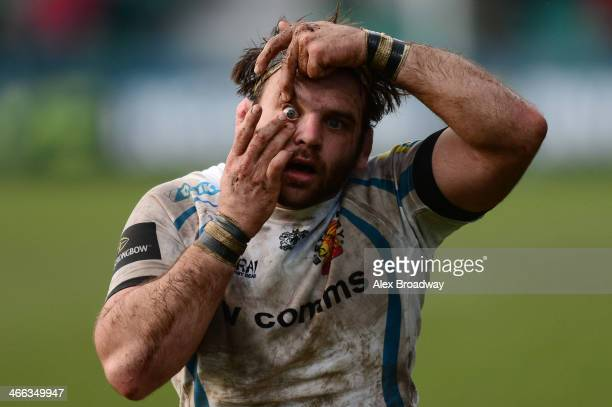Chris Whitehead of Exeter Chiefs holds his eye during the LV= Cup match between Worcester Warriors and Exeter Chiefs at the Sixways Stadium on...
