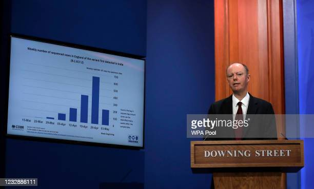 Chris Whitty the United Kingdom Chief Medical Officer speaks at a press conference about the ongoing coronavirus outbreak at Downing Street on May...
