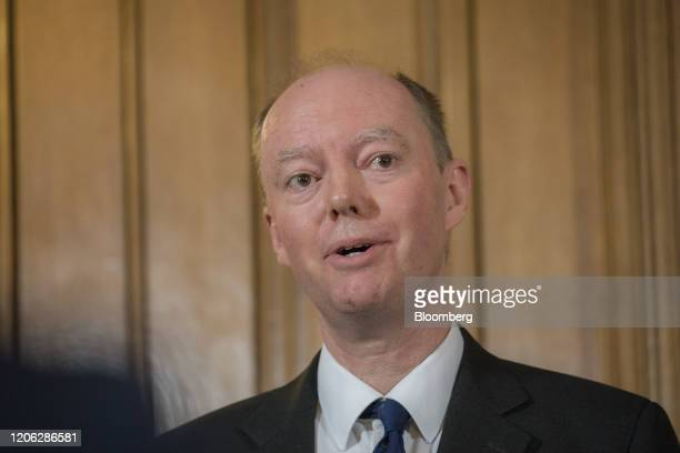 Chris Whitty UK chief medical officer speaks during a news conference inside number 10 Downing Street in London UK on Monday March 9 2020 UK Prime...