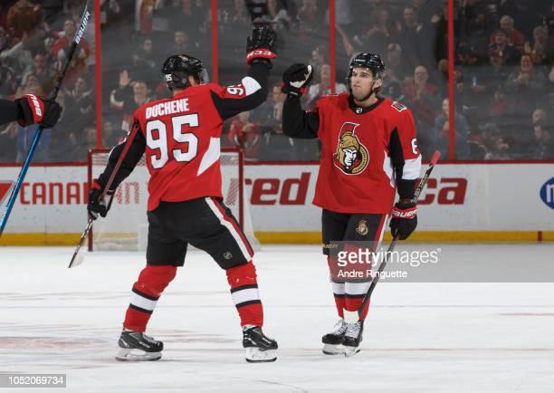 Chris Wideman of the Ottawa Senators celebrates his third period goal against the Los Angeles Kings with teammate Matt Duchene at Canadian Tire...