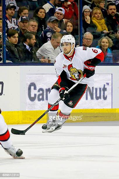 Chris Wideman of the Ottawa Senators controls the puck during the game against the Columbus Blue Jackets on January 19 2017 at Nationwide Arena in...