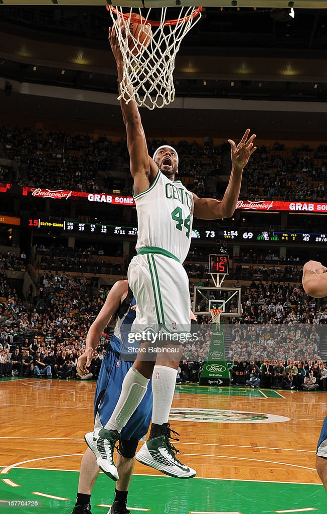 Chris Wilcox #44 of the Boston Celtics goes to the basket against the Minnesota Timberwolves on December 5, 2012 at the TD Garden in Boston, Massachusetts.