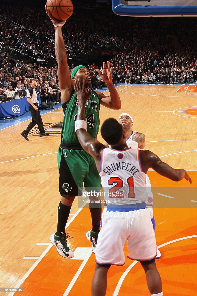 Chris Wilcox #44 of the Boston Celtics goes up for the shot against Iman Shumpert #21 of the New York Knicks on March 31, 2013 at Madison Square Garden in New York City.