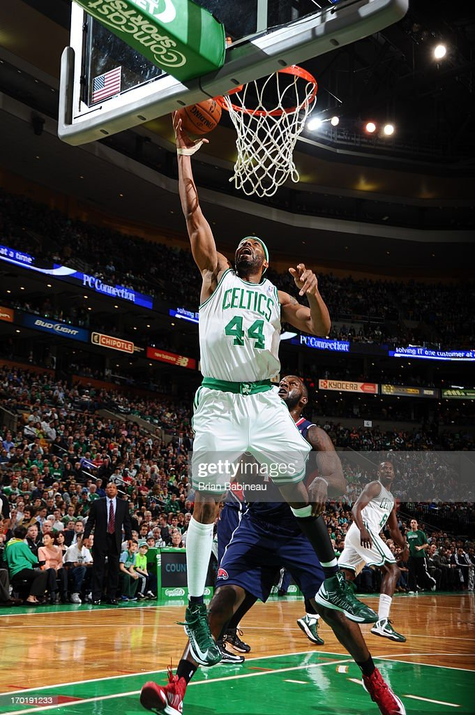Chris Wilcox #44 of the Boston Celtics shoots a layup against the Atlanta Hawks on March 29, 2013 at the TD Garden in Boston, Massachusetts.