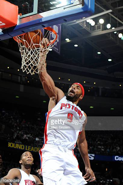 Chris Wilcox of the Detroit Pistons dunks against the Sacramento Kings in a game on January 15 2011 at The Palace of Auburn Hills in Auburn Hills...