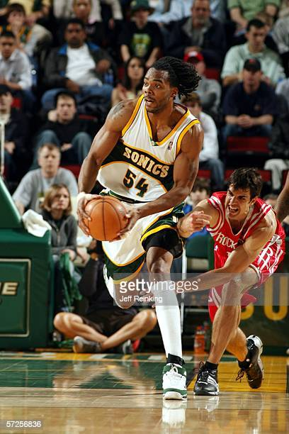 Chris Wilcox of the Seattle SuperSonics brings the ball upcourt against the Houston Rockets at Key Arena on April 4 2006 in Seattle Washington NOTE...