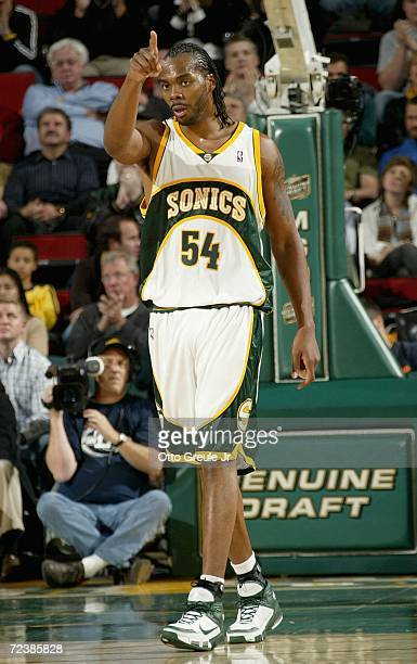 Chris Wilcox of the Seattle SuperSonics gestures on the court during the game against the Portland Trail Blazers on November 1 2006 at Key Arena in...