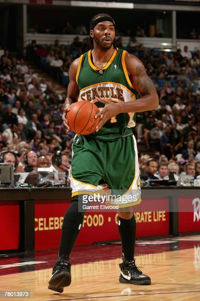 Chris Wilcox of the Seattle SuperSonics looks to pass during the game against the Sacramento Kings on November 6 2007 at Arco Arena in Sacramento...