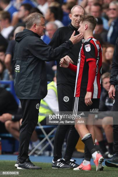 Chris Wilder head coach / manager of Sheffield United and David Brooks of Sheffield United during the Sky Bet Championship match between Sheffield...