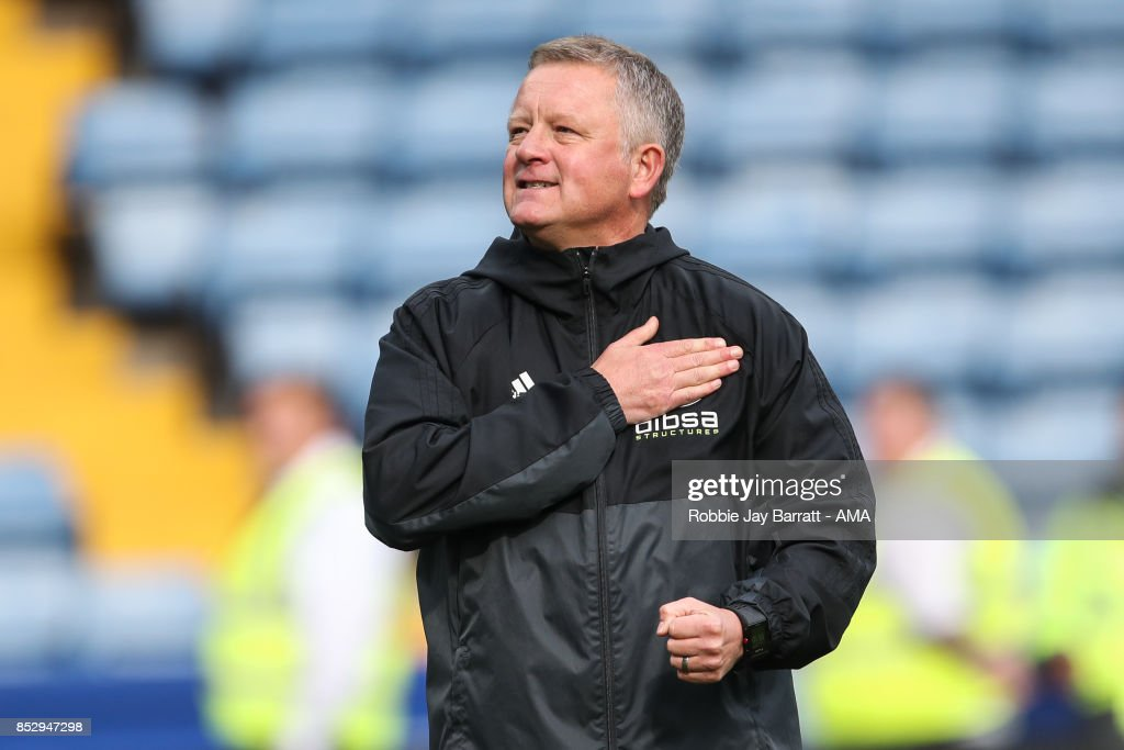 Chris Wilder head coach / manager of Sheffield United celebrates at full time during the Sky Bet Championship match between Sheffield Wednesday and Sheffield United at Hillsborough on September 23, 2017 in Sheffield, England.