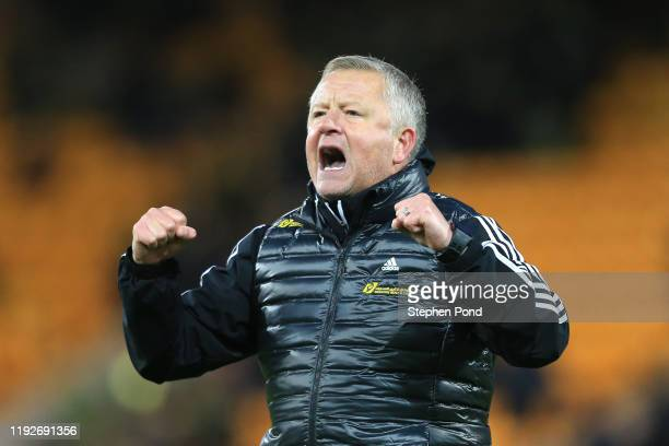Chris Wilder, Manager of Sheffield United celebrates after his team's victory in the Premier League match between Norwich City and Sheffield United...