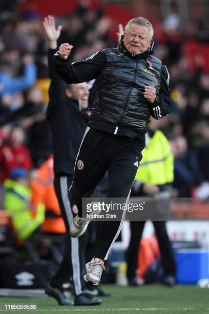 Chris Wilder, Manager of Sheffield United celebrates during the Premier League match between Sheffield United and Burnley FC at Bramall Lane on...