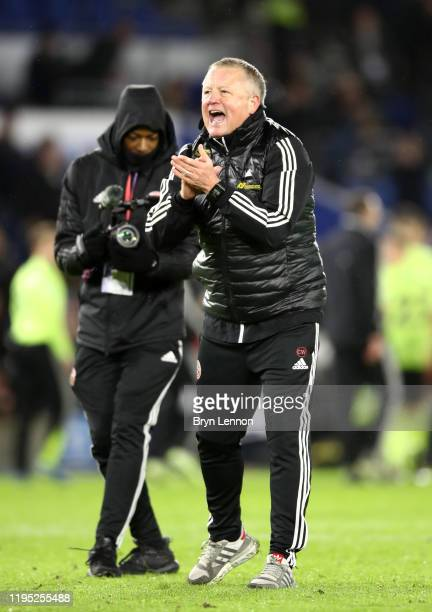 Chris Wilder, Manager of Sheffield United celebrates following the Premier League match between Brighton & Hove Albion and Sheffield United at...