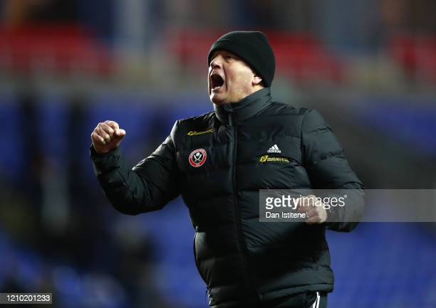 Chris Wilder, Manager of Sheffield United celebrates victory during the FA Cup Fifth Round match between Reading FC and Sheffield United at Madejski...