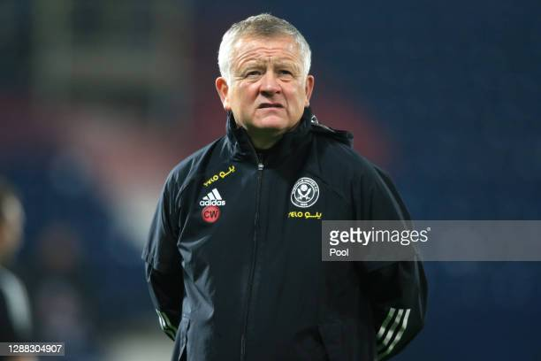 Chris Wilder, Manager of Sheffield United during the warm up prior to the Premier League match between West Bromwich Albion and Sheffield United at...