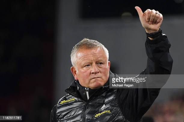 Chris Wilder, Manager of Sheffield United gives a thumbs up ahead of the Premier League match between Sheffield United and Arsenal FC at Bramall Lane...